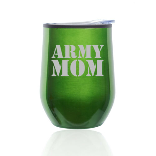 Stemless Wine Tumbler Coffee Travel Mug Glass Cup w// Lid Army Mom