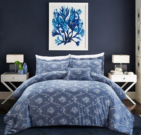 Silky Blau Floral Scrolling Mdeallion 4 pcs Comforter King Queen Bedding Set New