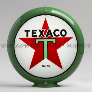 "Texaco Star 13.5"" Gas Pump Globe w/ Green Plastic Body (G192)"