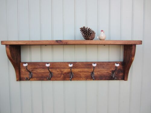 Rustic Pine Hat Coat Rack Shelf  2 3 4 5 6 /&7 ceramic hooks also in Shabby Chic