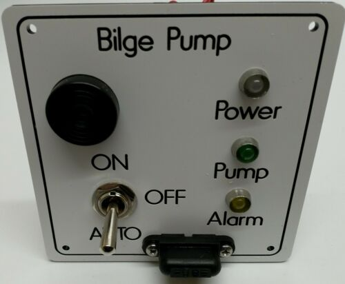 Bilge Pump Switch /& Alarm  Panel Boat 12V pre-wired /& ready to fit White