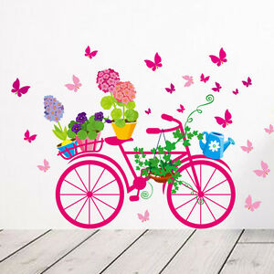 US Bicycle Flower Girl Removable Vinyl Wall Sticker Decal Mural Art Home Decor