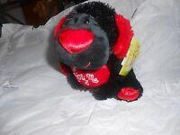 Walmart Black Plush Puppy Dog Red Heart You & Me 8