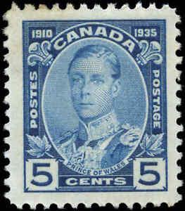 Mint-H-Canada-F-VF-Scott-214-1935-5c-Silver-Jubilee-Stamp