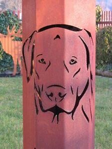 8-Eck-Saeule-Hund-Haustier-Deko-Land-Rost-Saeule-Labrador-Hunderasse-Stele-Garten