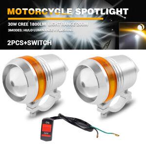 2x 30W U3 LED Motorcycle Bike HeadLight Spot Fog Light Amber Angel Eyes Halo
