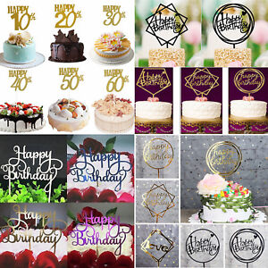 034-Happy-Birthday-034-10-20-30-40-50-60th-Gold-Silver-DIY-Cake-Topper-Party-Supplies