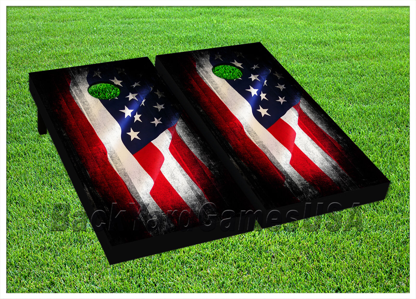American Flag CORNHOLE BEANBAG TOSS GAME w Bags Game Boards Digital  Set 1018