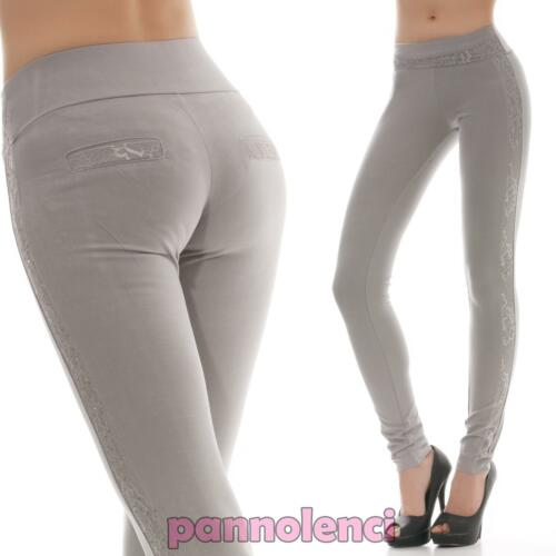 Pantaloni donna skinny stretti aderenti elasticizzati strass pizzo nuovi C6068