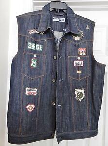 Sabit Nyc Men S Denim Vest Jacket Biker Patches Embellished Blue 2xl