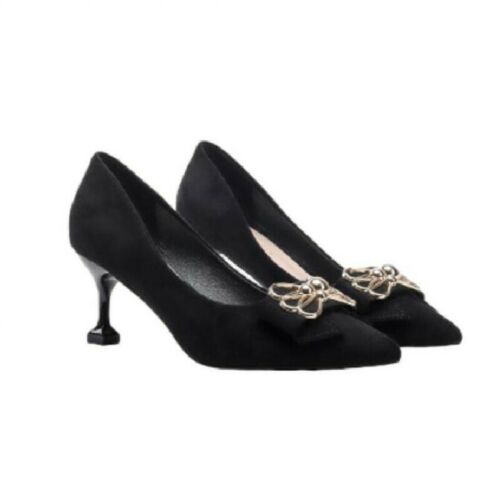 Details about  /Women Slip On Pointed Toe Mid Heel Pump Kitten Loafer Bowknot New Office Shoes L