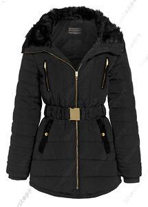 Details zu NEU Größe 10 12 14 16 Damen Gepolsterter Mantel Damen Jacke Pelz Puffa