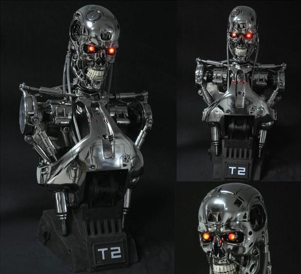Terminator Domedag T2  T800 1 1 liv -Storlek busst Figur Staty hkonsts modellllerlerl leksak