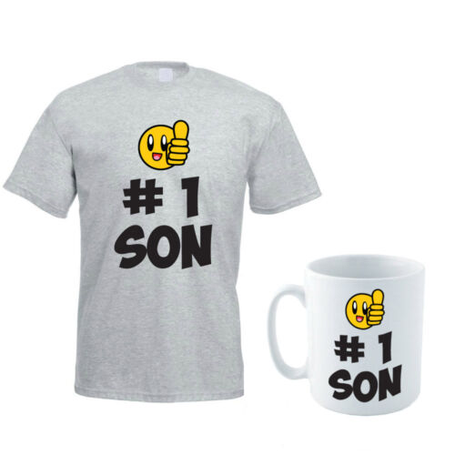 Father Gift Funny Men/'s T-Shirt and Mug Set HASHTAG NUMBER ONE SON Daddy