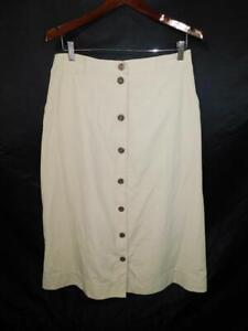 Travelsmith-16-Khaki-Brown-A-Line-Skirt-Button-Front-Midi-Elastic-at-Waist-lg