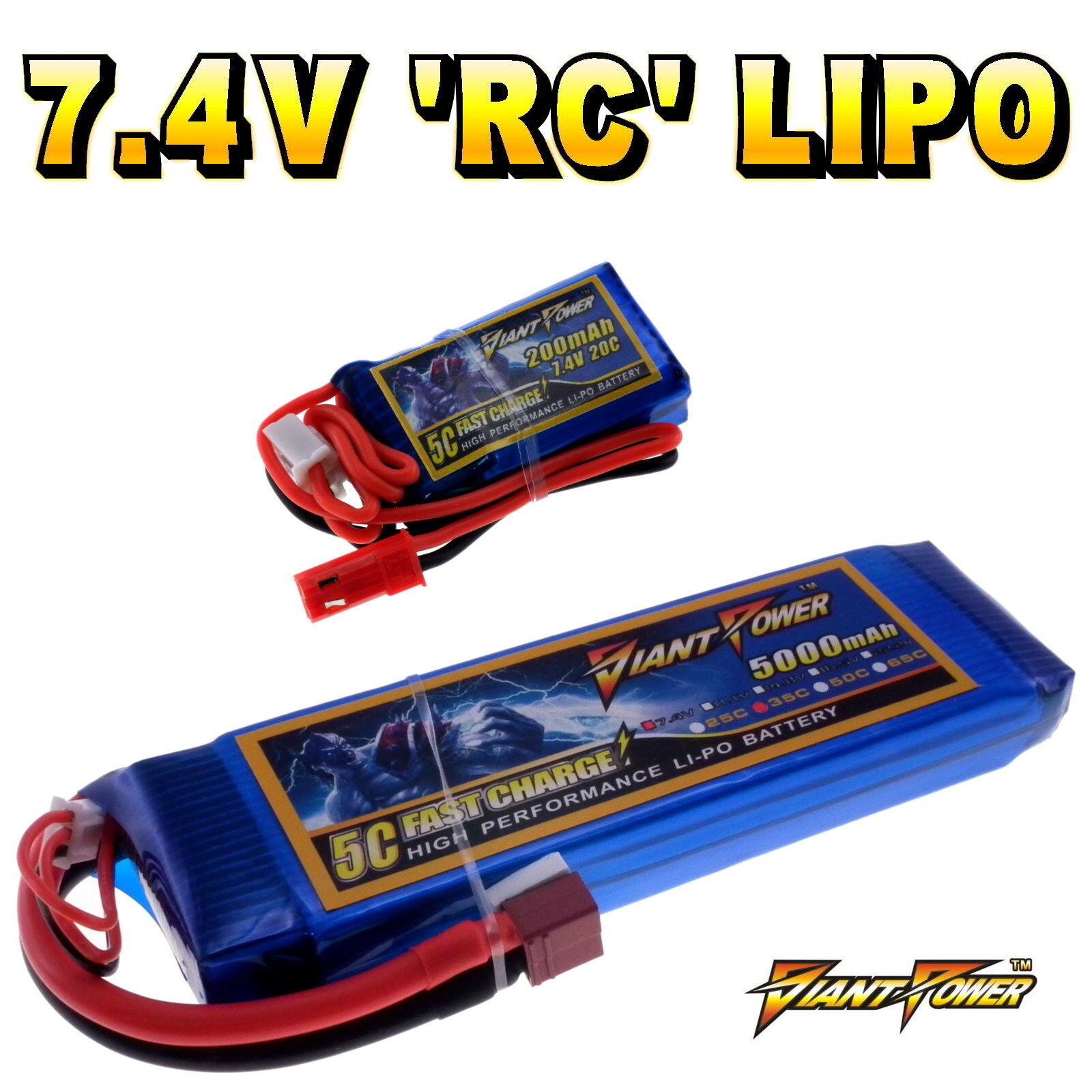 7.4V 120mAh - 5000mAh 2S Rc Batteria Lipo fino a 50C Tutte le Taglie + su Misura