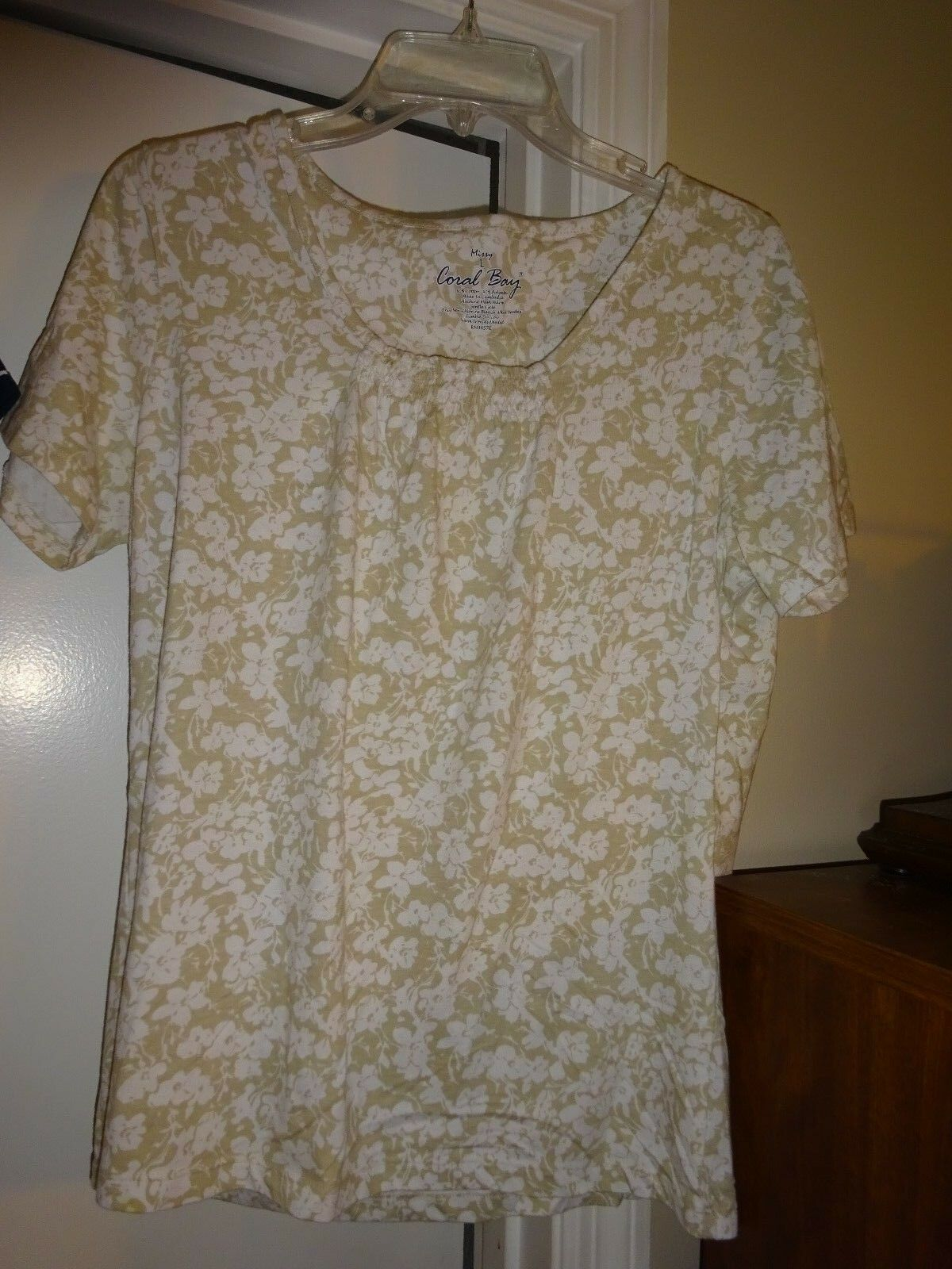 CORAL BAY Ladies Größe Large Tan & Weiß Shrot Sleeve Top Casual Cotton Poly NEW