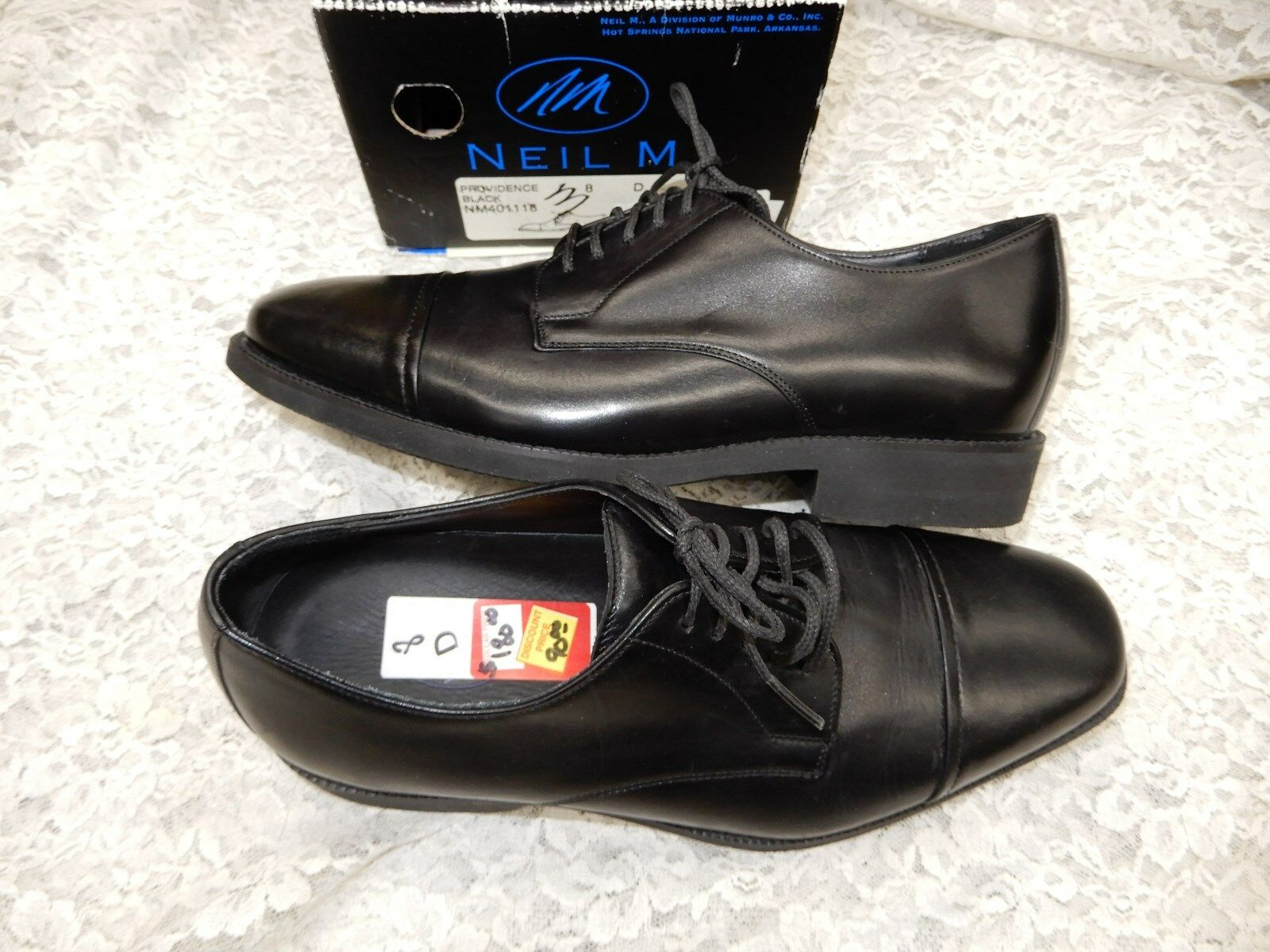 NEIL M. 8 D black leather oxford shoes  180 retail Men's shoes Providence