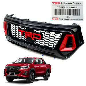 Genuine-Red-Grille-TRD-Style-Black-Red-Fits-Toyota-Hilux-Revo-Rocco-2018-2019