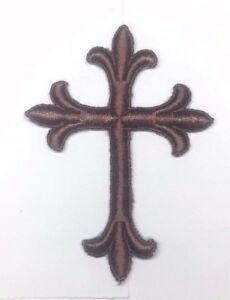 Vintage-Liturgico-Cruz-Bordado-para-Coser-Marron-B-7-6cmx-10-2cm-Emblema-Patch-2