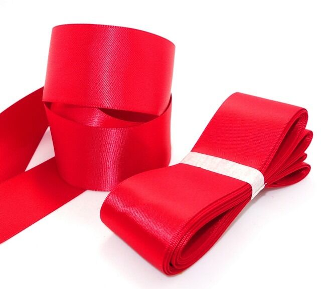 "high quality 5 yards 1-1/2"" 38mm red Double aspect satin ribbon"