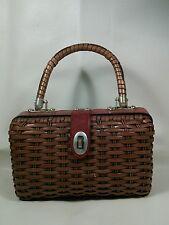 Vtg MOD 50-70's Leather Plastic STRAW Basket Weave Handbag LTD Purse Pocketbook