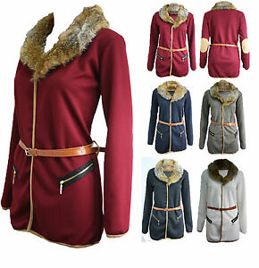 Womens-Ladies-Belted-Blazer-Duster-Fur-Jacket-Coat-Pockets-Long-Sleeve-Top-8-14