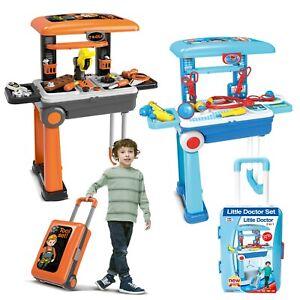Ninos-Juguete-unfoldable-Maleta-Medico-o-herramienta-Workbench-finja-el-juego-juego