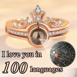 100 Languages I love You Projection Crown Ring Personality Couple ...
