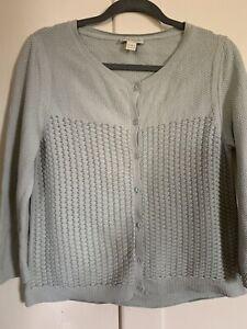 Details about Women's Monsoon Light Blue Knit Cardigan Cotton Size 14