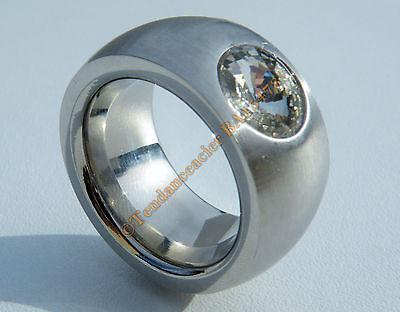 Bague Chevaliére 14 mm Noire Pur Acier Inoxydable Strass Diamant Bleu 11 mm Rare