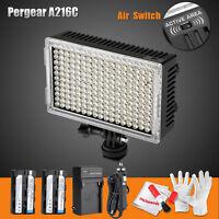 Pergear High CRI 216 Led Video On Camera Sensor Light F Canon Nikon DSLR Battery
