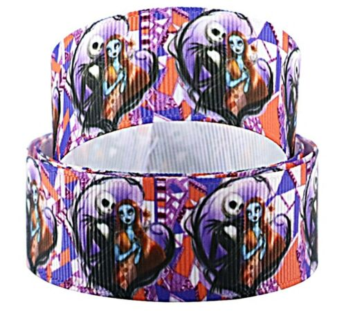 "Nightmare Before Christmas Jack /& Sally Love 1/"" Wide Repeat Ribbon Sold in Yards"