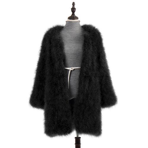 Women 100/% Real Ostrich Feather Turkey Fur Long Coat  Knee Length Deep Grey