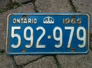 Vintage 1965 Ontario ON Canada Vehicle License Plate Blue White~ POOR 592 979