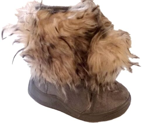 New Infant Toddler Gray Fluffy Fur Winter Girl/' Boots shoes Sz 5-10