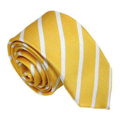 UK School Club Slim Necktie Yellow & White Striped Skinny Tie Silk Ties UK Stock