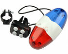 Bike Cycling Bicycle 6 LED Warning Light 4 Loud Siren Sound Electronic Horn Bell