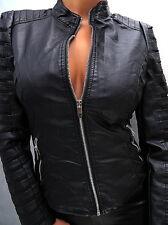 NEU 2017 LEDER OPTIK SCHWARZ LEATHER LOOK Damen Jacke Mantel Q20 Blazer Coat S