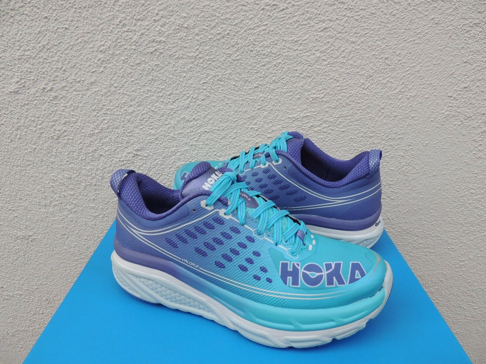 HOKA ONE ONE VALOR 2 blueE ATOLL  CORSICAN RUNNING SHOES, US 7  EUR 38 2 3 NWT