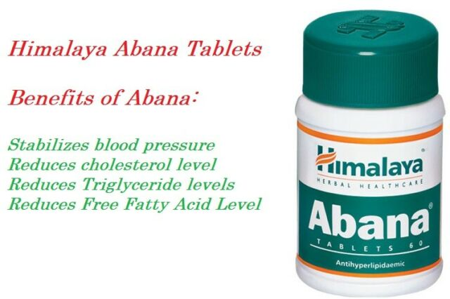 Himalaya Herbal Abana Reduces Cholesterol / Controls Blood Pressure 60 Tablets