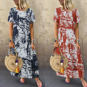 ZANZEA-8-24-Women-Summer-Long-Maxi-Kaftan-Plus-Size-Short-Sleeve-Shift-Dress-NEW