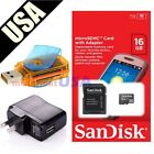 16GB SANDISK MicroSD SD TF FLASH MEMORY CARD READER ADAPTER + USB WALL CHARGER