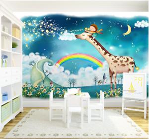 3D Giraffe Rainbow 977 Wall Paper Murals Wall Print Wall Wallpaper Mural AU Kyra