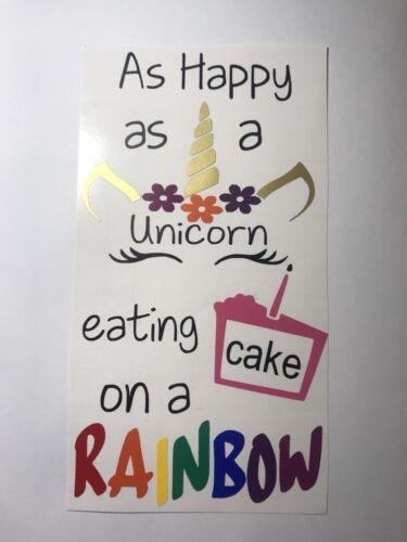 Tan feliz como un unicornio comer pastel en un arco Iris Vinilo Calcomanía De Botella De Vino