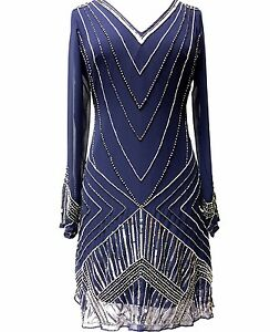 Ladies Gatsby Flapper Blue Shift dress sizes 8 10 12 14 16 18 20 22 24