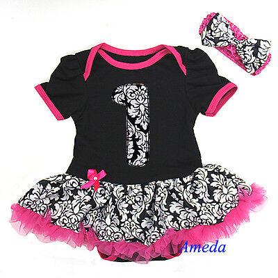 Baby Black Hot Pink 1st Birthday Damask Bodysuit Pettiskirt Dress Jumpsuit 0-18M