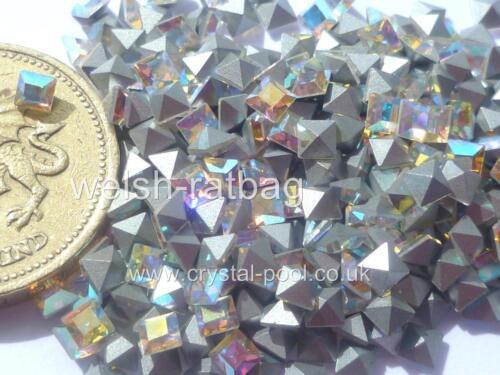 15 X Swarovski 3 Mm X 3 Mm Cristal AB silver-foiled # 4401 Plazas