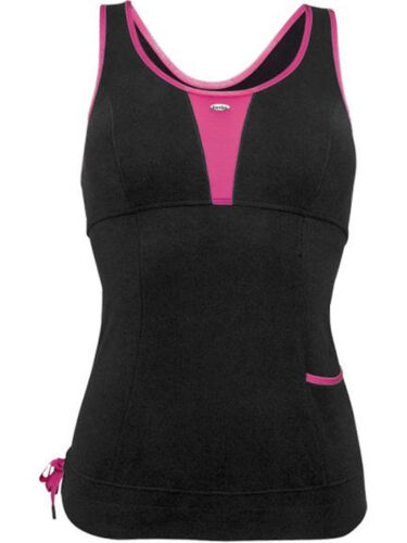 Ladies Exercise Vest Berlei Sports Move-X Soft Yoga Gym Running Top Black Pink