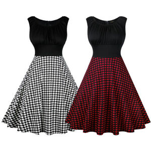Women-Retro-50s-Rockabilly-Pinup-Houndstooth-Party-Swing-Summer-Dress-Plus-Size